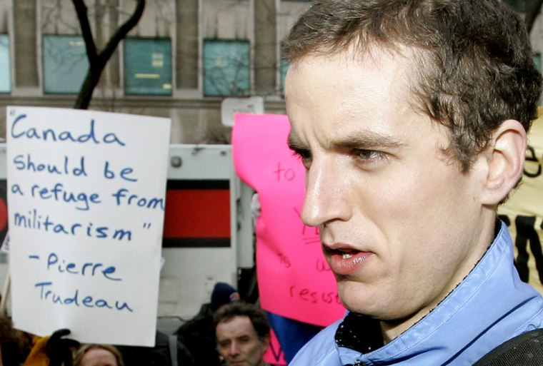 Image: U.S. Army deserter Jeremy Hinzman speaks at a rally after Immigration Board ruling.