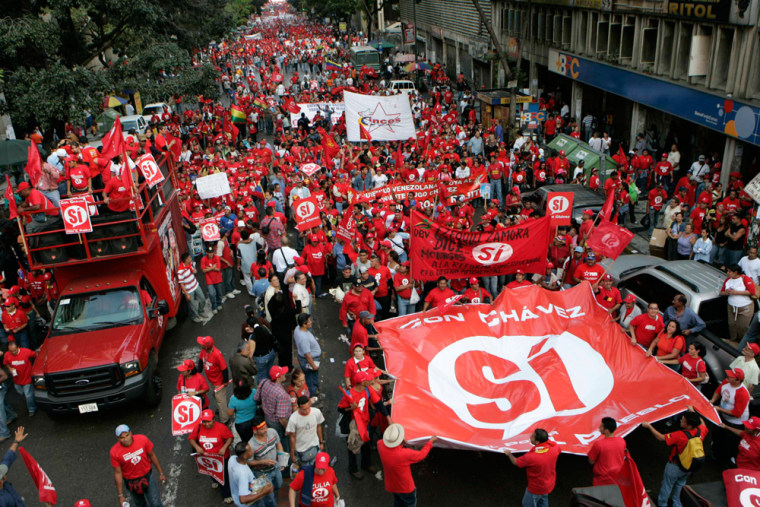 Supporters of Venezuelan President Hugo Chavez march in support of his proposal for constitutional changes, in Caracas