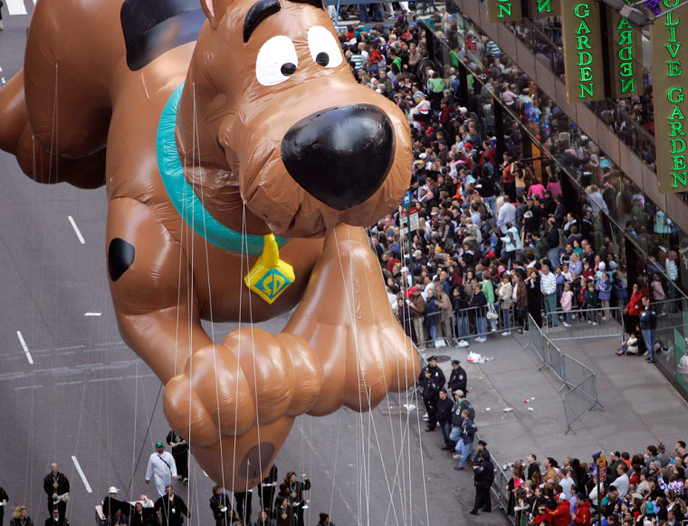 The Scooby Doo balloon floats down Broadway during the Macy's Thanksgiving Day Parade in New York.