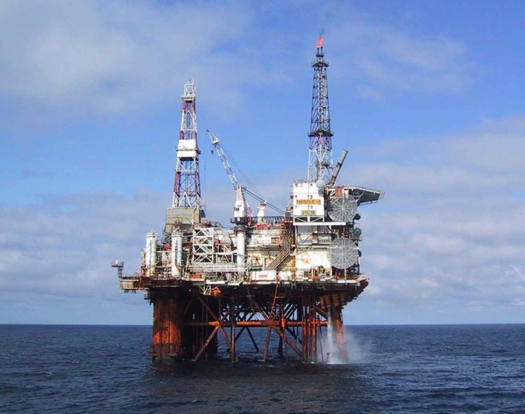 Image: The North Sea oil platform Thistle Alpha in an undated handout photograph