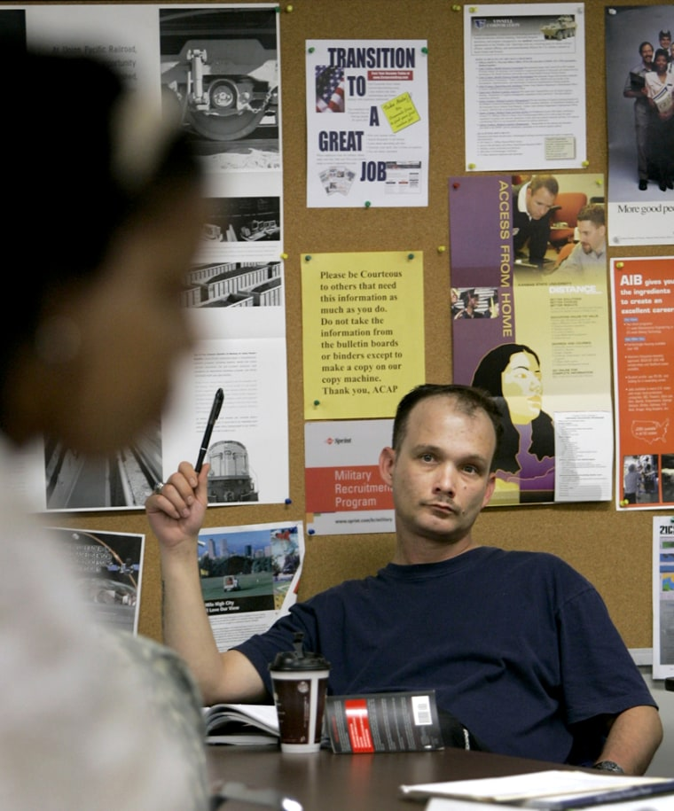 Image: Army Sgt. Brian Brooks in a class to train solders entering the civilian work force