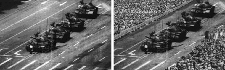The original photo of a lone demonstrator facing down tanks in Beijing's Tiananmen Square in 1989, at left, was altered to add crowds of spectators, at right.
