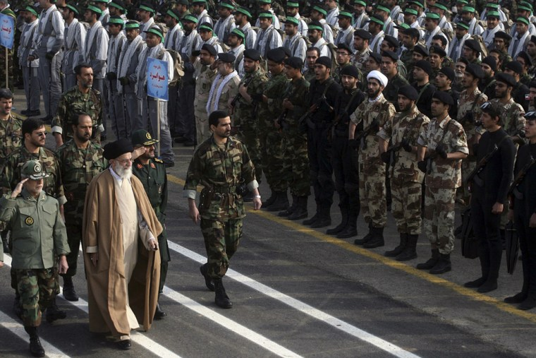 Iran's Supreme Leader Ayatollah Ali Khamenei inspects the parade by the members of Basij militia during a ceremony to mark the Basij day in southern Tehran