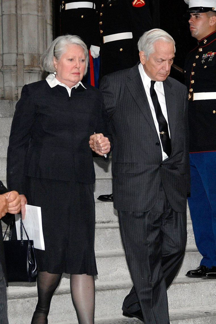 Anthony Marshall and his wife, Charlene, are shown exitingNew York City's St. Thomas Episcopal Church following the funeral services for his mother, Brooke Astor, onAug. 17.