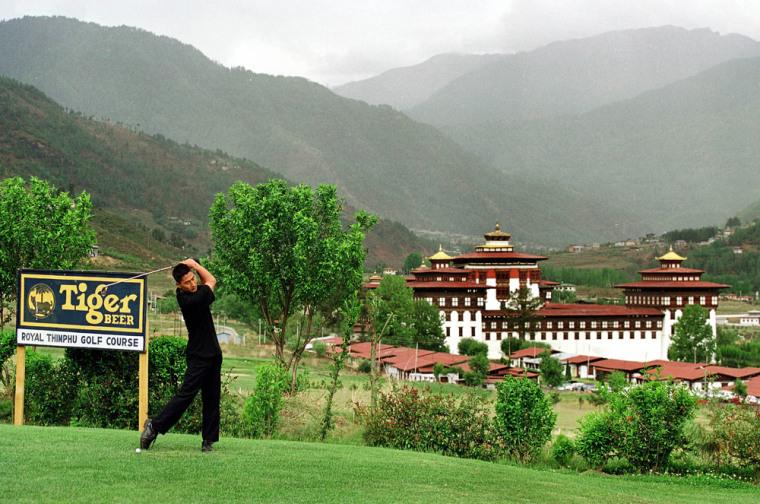Image: Golfer Takes A Swing At The Royal Thimpu Golf Course May 20 2000 In Thimpu Bhutan Th