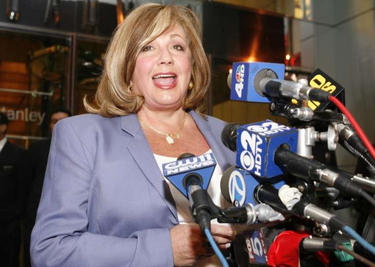 Image: Charlotte St. Martin, executive director of the League of American Theatres and Producers, speaks to the press.