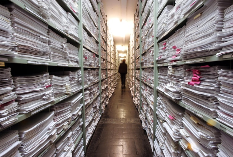 Image: Nazi archive in International Tracing Service (ITS) in Bad Arolsen, Germany,