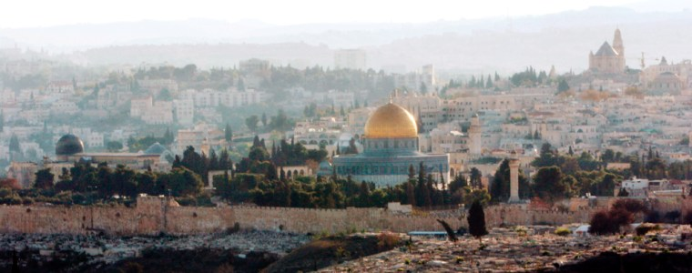 Image: View of Jerusalem with Dome of Rock and al Aqsa mosque.