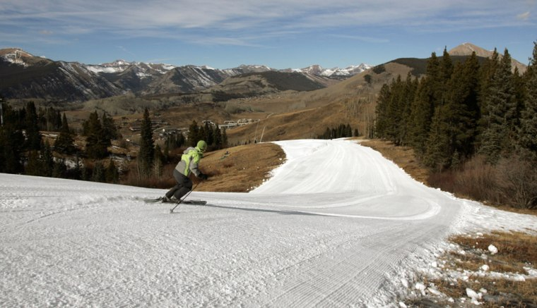 Image: April Prout tests manmade snow at Crested Butte Mountain Resort