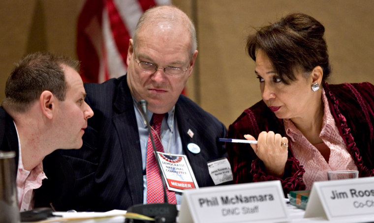 Image: Alexis Herman, right, co-chair of the Democratic National Committee Rules and Bylaws Committee.