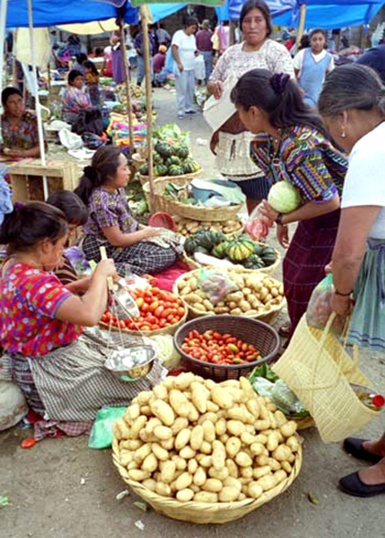 This present-day marketplace in Antigua, Guatemala has a similar pattern of soil residue to that of an ancient Maya site, proving that the ancient people had a market economy.