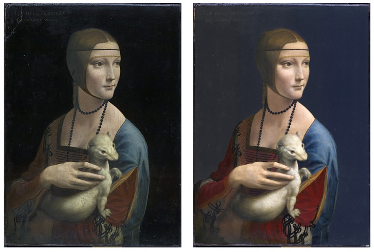 """Leonardo da Vinci's """"Lady with an Ermine,"""" shown left,lost its vibrant colors afterenduring centuries of deterioration and touchups. But virtual restoration brought out bolder hues andsofter contours as shown on the right."""