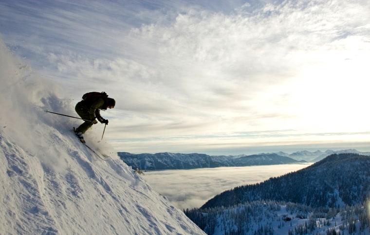 Image: Sarah Oakden skiing at Fernie Alpine Resort, BC, Canada