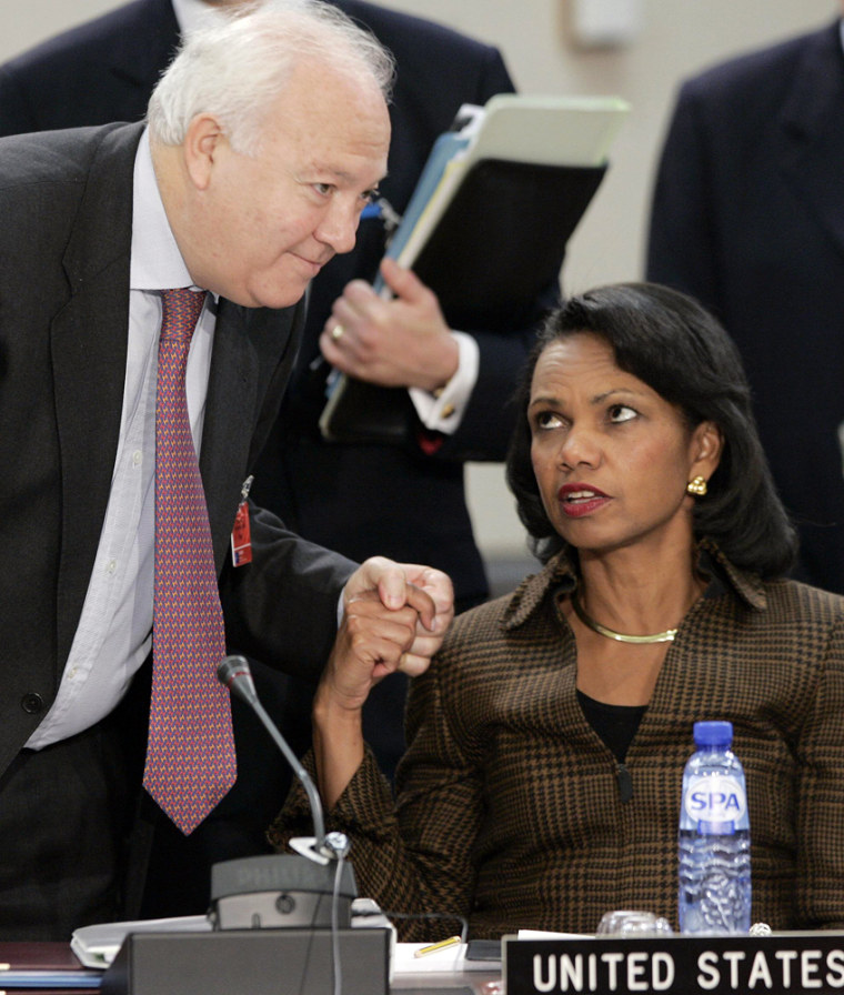 U.S. Secretary of State Rice talks with Spain's FM Moratinos during a NATO foreign ministers meeting in Brussels