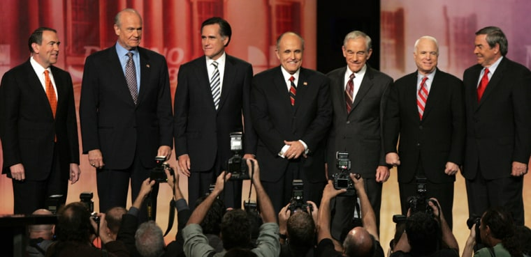 Image: Mike Huckabee, Fred Thompson, Mitt Romney, Rudy Giuliani, John McCain, Duncan Hunter, Ron Paul