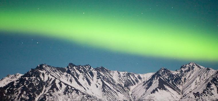 Image: Aurora Borealis, also called the Northern Lights, over the Chugach Range near Palmer, Alaska