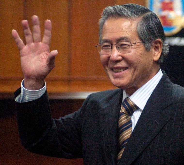 Image: Former Peruvian president Alberto Fujimori at trial