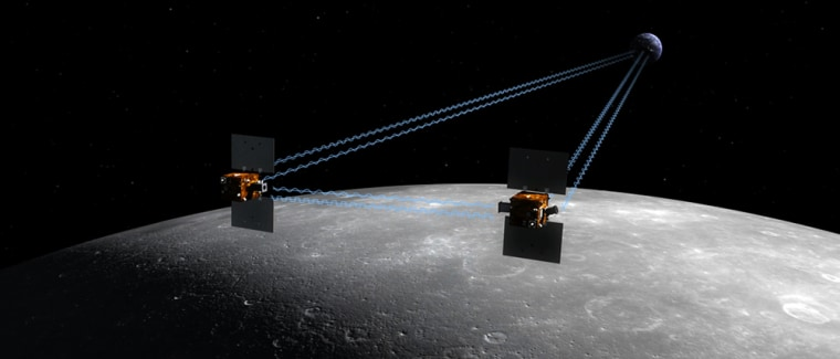 The twin GRAIL spacecraft, shown in this artist's conception, will fly in tandem orbits around the moon for several months to measure its gravity field in unprecedented detail.