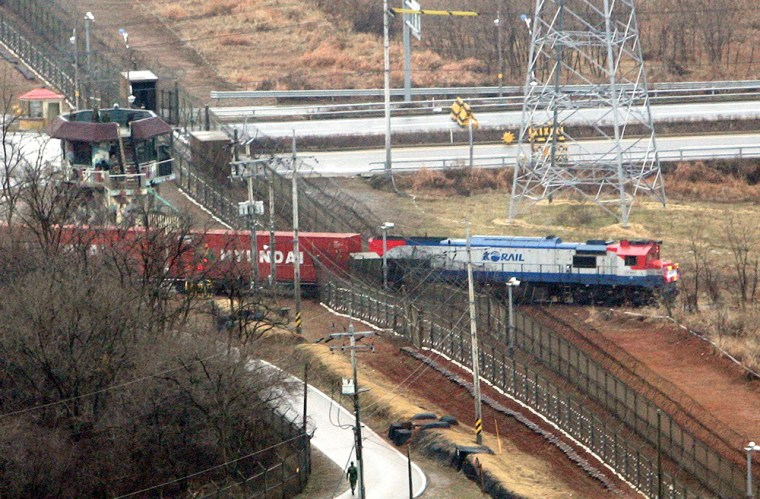 A cargo train passes into North Korea in Paju, near the demilitarized zone, on Tuesday.
