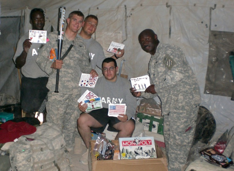 This can be a lonely time for military men and women stationed overseas, especially those in Iraq and Afghanistan. Getting holiday cards from back home is a big morale booster.