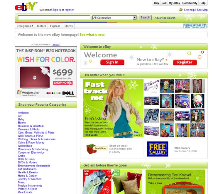 Image: The site cover of ebay.com