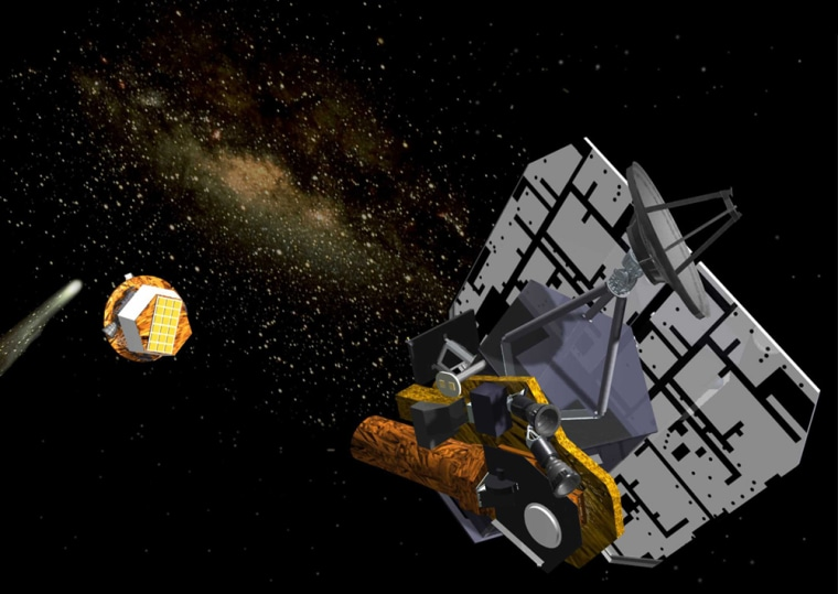 The Deep Impact mothership is shown here in an artist's conception shooting an impactor toward Comet Tempel 1. That 2005 mission has ended, but NASA is giving the instrument-laden mothership a couple of new tasks: to look for extrasolar planets and take a close look at Comet Hartley 2.