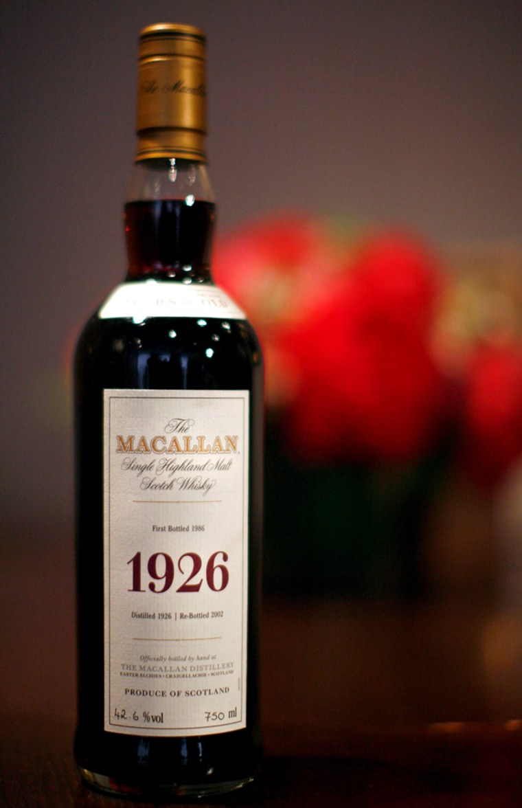 Image: A bottle of Macallan scotch distilled in 1926 is seen here during a preview for an auction of fine Spirits at Christie's Auction House in New York