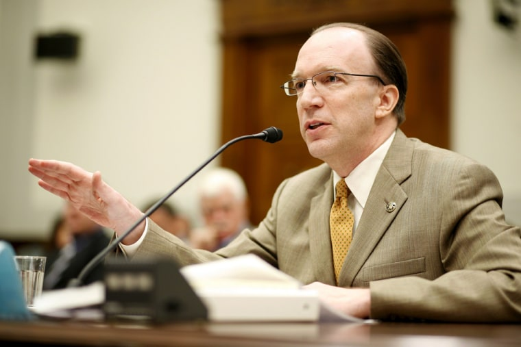 """StuartBowen, Jr., Special Inspector General for Iraqi Reconstruction, during a House Foreign Affairs Committee hearing on Iraqi reconstruction, on Capitol Hill in Washington, D.C. 22 May 2007. Corruption within the Iraqi government is as bad as ever and has become a \""""second insurgency\"""" threatening to undermine US and Iraqi efforts to build a stable democracy, Bowen said 04 October 2007. \""""The tide of corruption continues to rise and the problem is as bad today as it's ever been,\"""" StuartBowen, the US State Department's special inspector for reconstruction in Iraq, told a congressional panel."""
