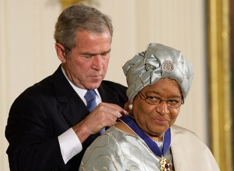 Image: George W. Bush and Ellen Johnson Sirleaf