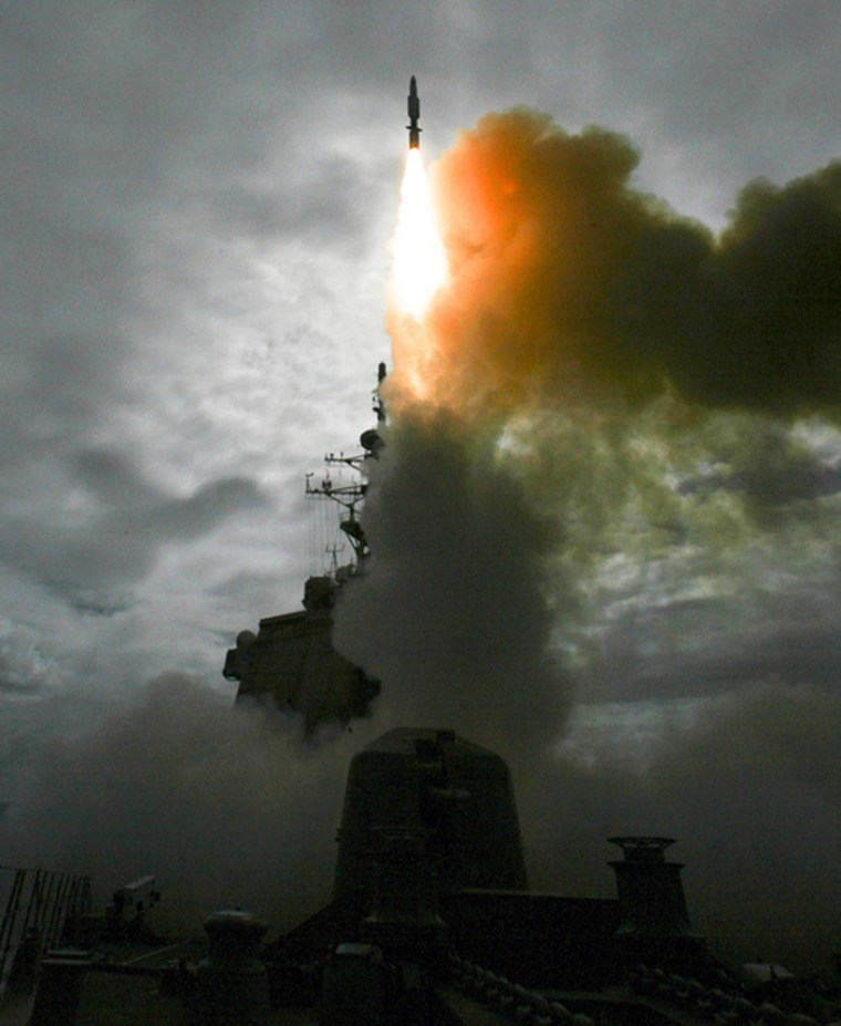 Handout of a standard missile 3 being launched from the Japanese navy destroyer Kongo in the Pacific Ocean