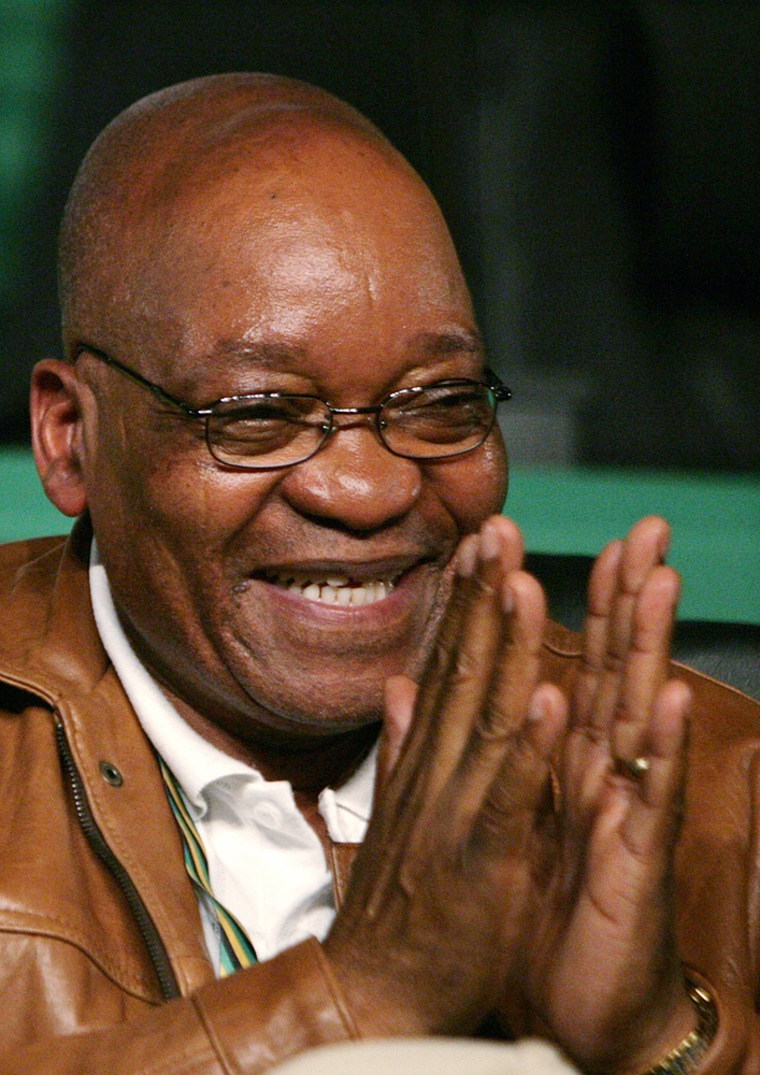 Image: Newly elected ANC president Jacob Zuma  reacts during the third day of a leadership conference in Polokwane
