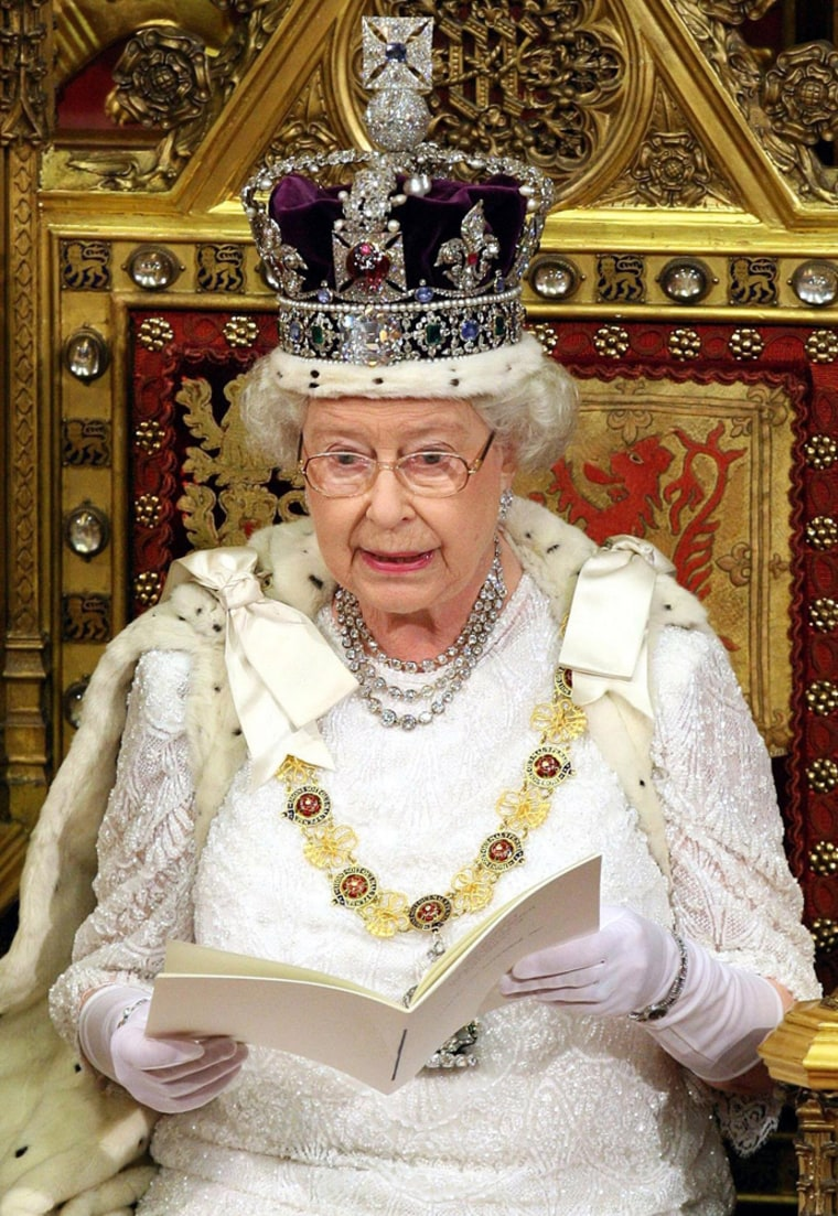 Britain's Queen Elizabeth II reads her annual address at the House of Lords in London on Nov. 6, during the State Opening of Parliament. The Queen became the country's oldest monarch Thursday, overtaking her great-great grandmother Queen Victoria.