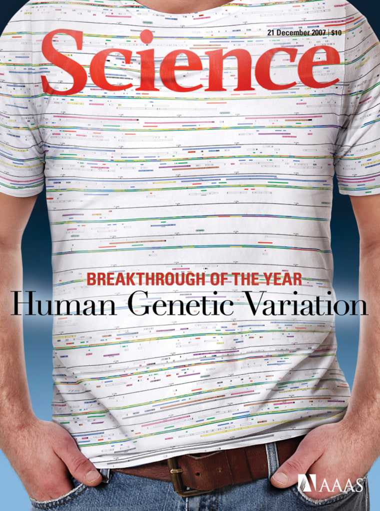 A T-shirt bearing an annotated gene-sequence map of human chromosome 1 symbolizes the journal Science's top breakthrough of the year for 2007 — the realization that DNA differs from person to person much more than researchers had suspected.
