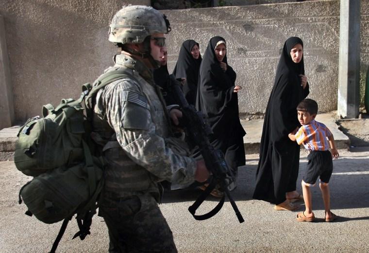 US Troops Patrol Restive Areas Of Baghdad