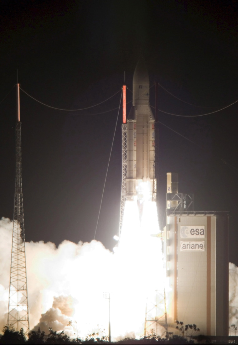 Image: Ariane 5 rocket lifting off from the Europe's Spaceport in French Guiana