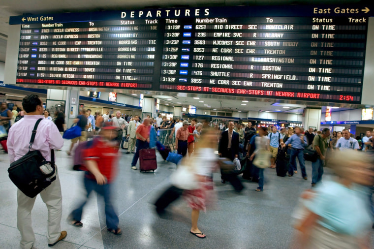Image: People rush through Pennsylvania Station August 31, 2007 in New York City.