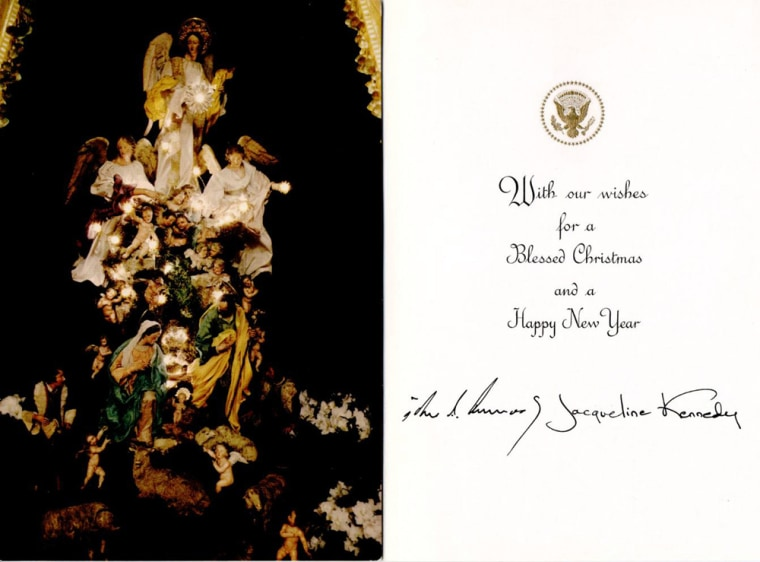 Image: A 1963 White House Christmas card from late U.S. President Kennedy is pictured in handout photograph