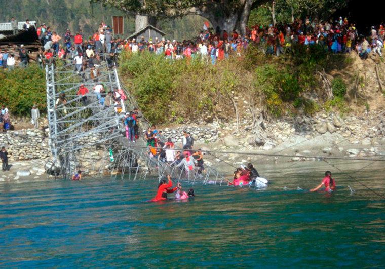Suspension bridge accident in Nepal