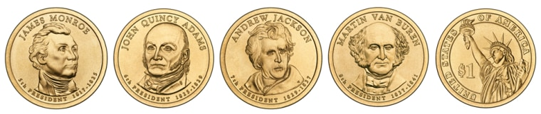 Image: four presidential one dollar coins, and their reverse side
