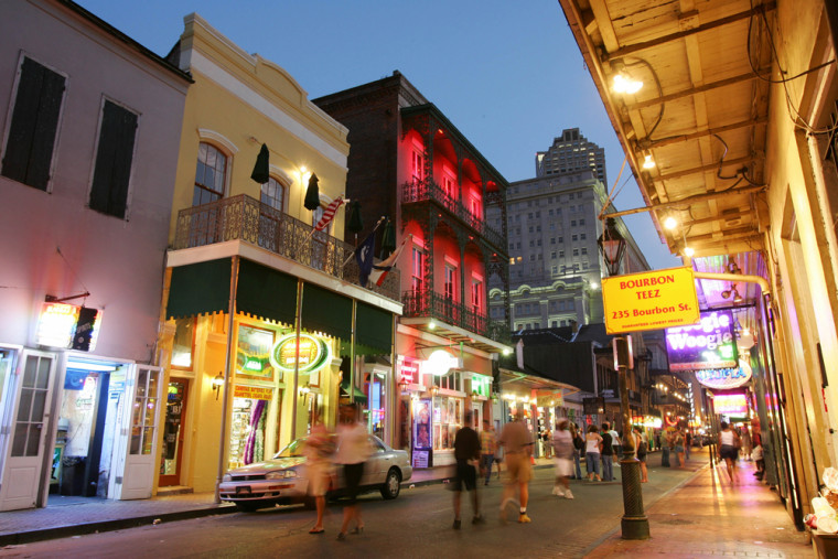 Image: Dusk falls over Bourbon Street in the French Quarter of New Orleans