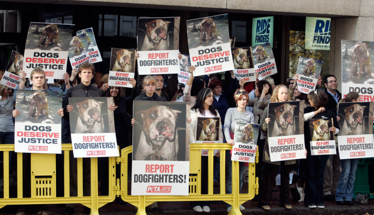 Image: Protesters hold signs as they  line up across the street from  Federal Court prior to the sentencing of Atlanta Falcons quarterback Michael Vick on dogfighting charges in Richmond, Va., in this, Dec. 10, 2007, file photo. Animal advocates are hopin