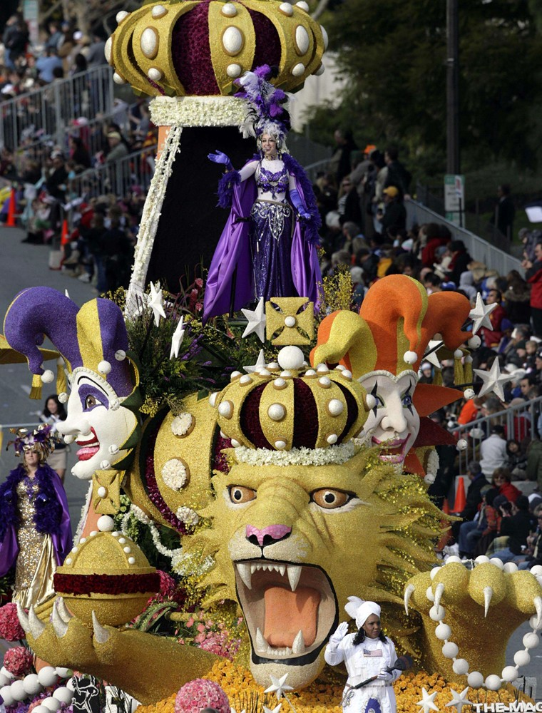 "The \""Magic of Mardi Gras\"" float takes part in the annual Rose Parade in Pasadena, California"