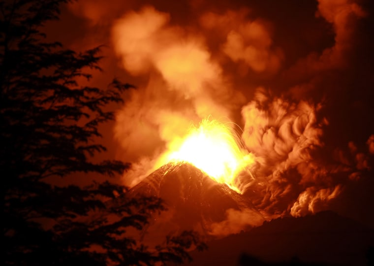 The Llaima volcano spews smoke and lava in Santiago