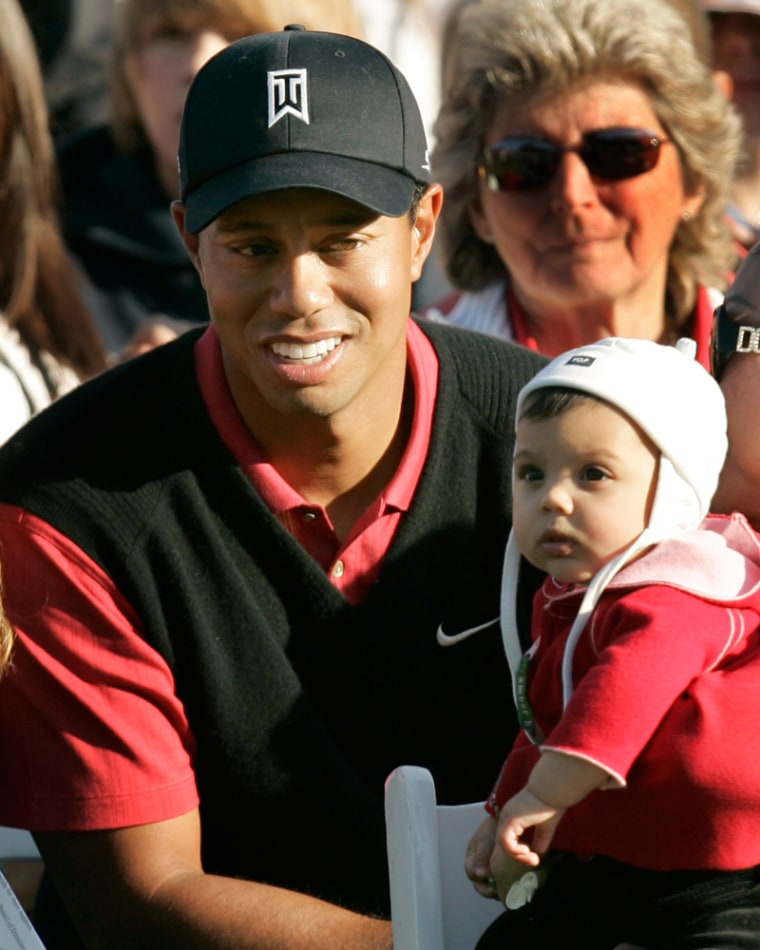 Image: Tiger Woods joined by daughter Sam Alexis after winning Target World Challenge in Thousand Oaks