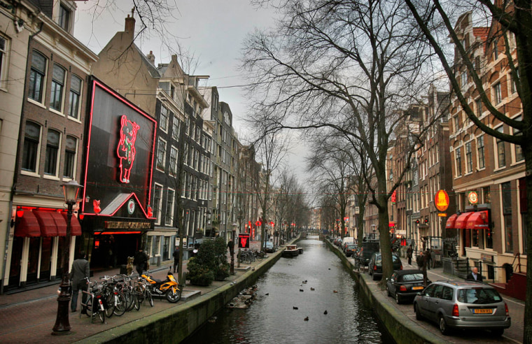 Image: View of the red light district in Amsterdam