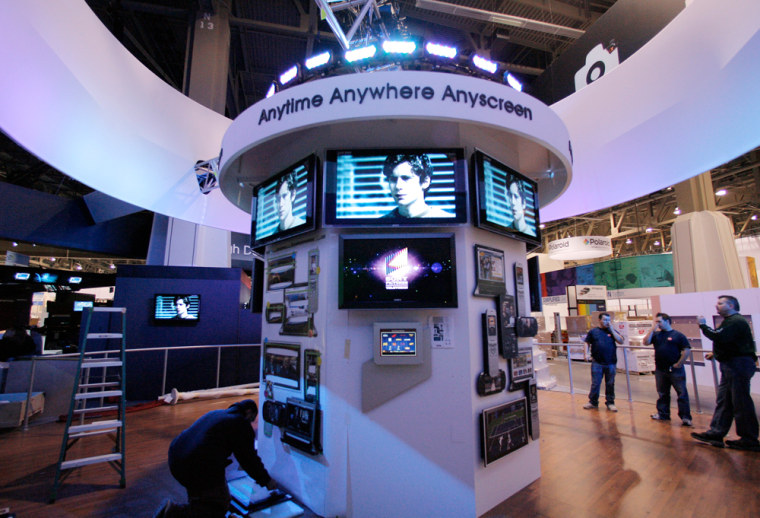 Image: The Sony booth is shown at the Las Vegas Convention Center in Las Vegas for CES 2008