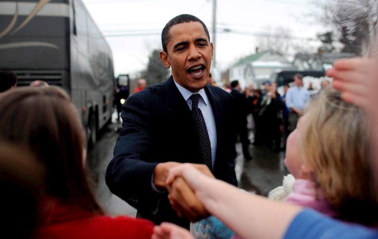 Illinois Senator and Democratic Presidential hopeful Barack Obama campaigning in New Hampshire