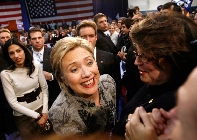 Democratic presidential candidate U.S. Senator Hillary Clinton greets supporters at her New Hampshire primary night rally in Manchester