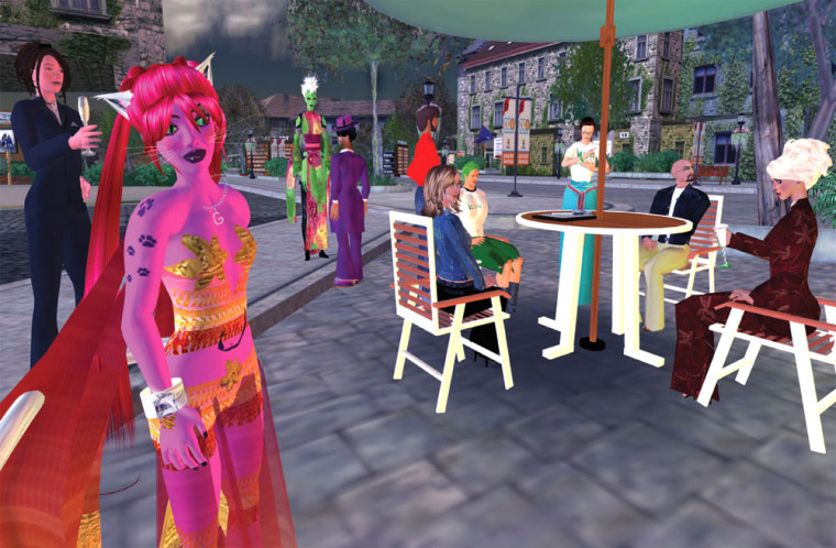 Philanthropic avatars get together to talk shop at a virtual sidewalk cafe in Second Life. From left to right: Pele Dryke, aka Shannon Terry of Community Voicemail; Glitteractica Cookie, aka Susan Tenby of Techsoup.org; In Kenzo, aka Evonne Heyning of amoration.org; Rik Riel, aka Rik Panganiban of Yehoodie.org; (standing) Creech Antwerp, aka Matthew Saunders of Dogstar.org; (seated in denim jacket) Fletcher Dovgal, aka Ann McGregor of Equinox Documentaries; Unknown avatar with Kiva.org and friend of JullesBoucher, aka Julia Bailey of Kiva.Org; Coughran Mayo, aka Dick Dillon of Preferred Family Healthcare, PFH.Org; JordannVa Voom, aka JordonL. Moore, of TechSoup.org
