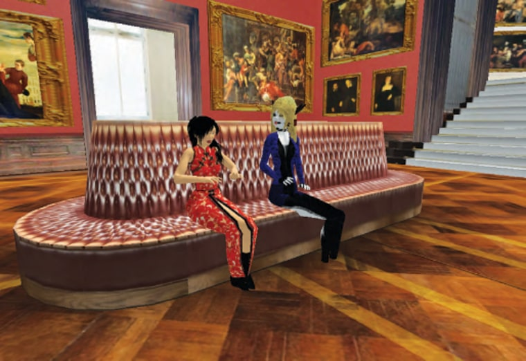 Anshe Chung, left,and Scoop Raymaker, akaContribute'sJanet Rae-Dupree, converse inthe Dresden Gallery in Second Life.